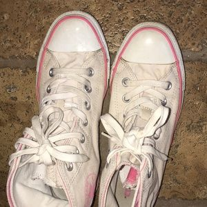 Unique white and pink converse